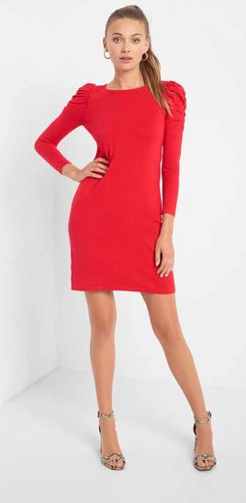 Dámské přiléhavé mini šaty v červeném a černém provedení