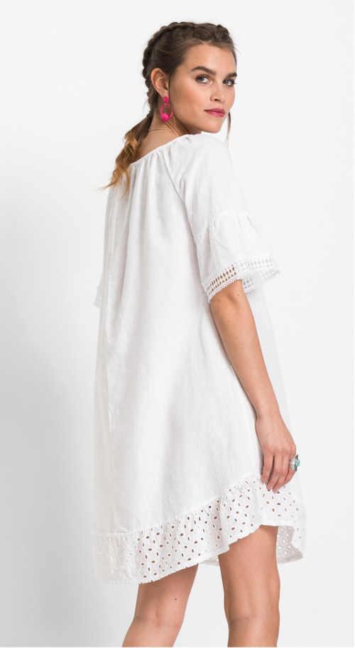 Dámské šaty z bavlny a lnu v bílé barvě