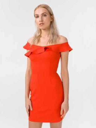 Elegantní mini šaty Guess s odhalenými rameny a zapínáním na zip