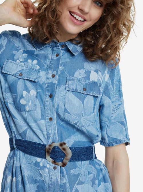 Košilové šaty s krátkým rukávem a knoflíkovou légou