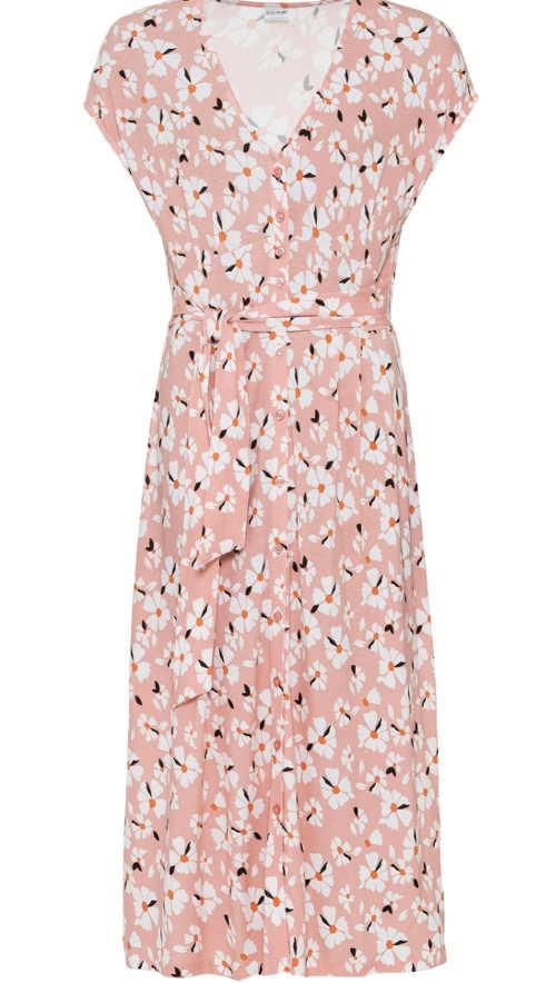 Květované žerzejové šaty bez rukávů s výstřihem do V