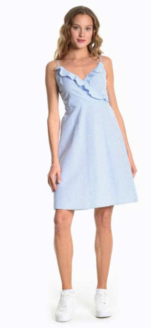 Letní proužkované šaty s volánkem v modro-bílé kombinaci