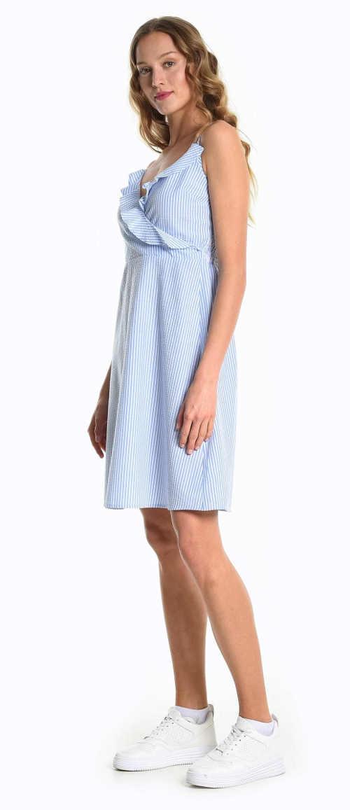 Moderní proužkované šaty s výstřihem do V a volánkem