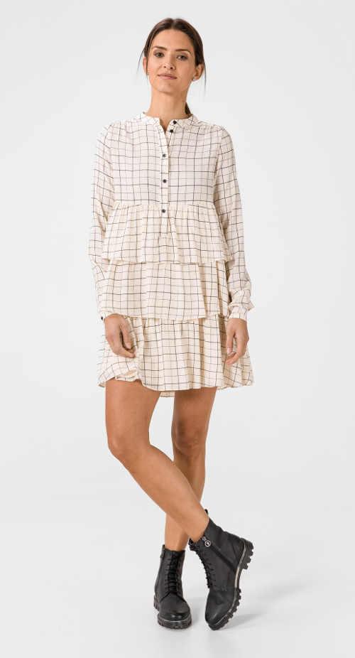 Moderní šaty s dlouhým rukávem a volány z kvalitního materiálu