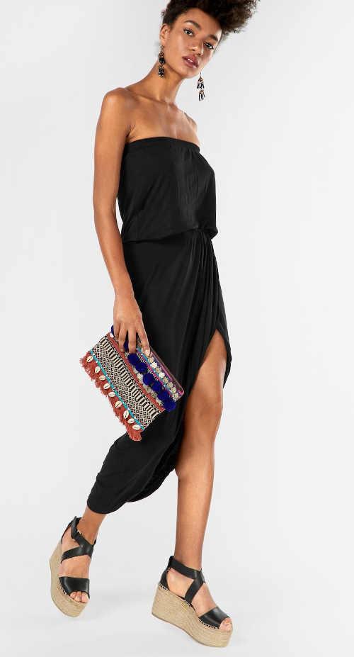 Moderní šaty s rozparkem a pružným pasem