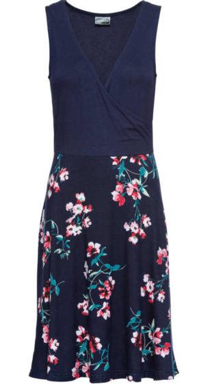Moderní šaty v modrém provedení bez rukávů a květovaným potiskem