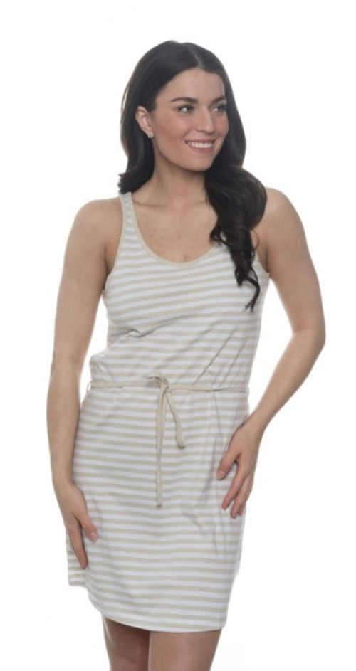 Pohodlné bavlněné šaty s kulatým výstřihem a tkaničkou v pase