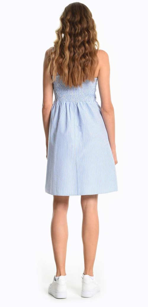 Proužkované šaty s volánkem vpředu v délce nad kolena