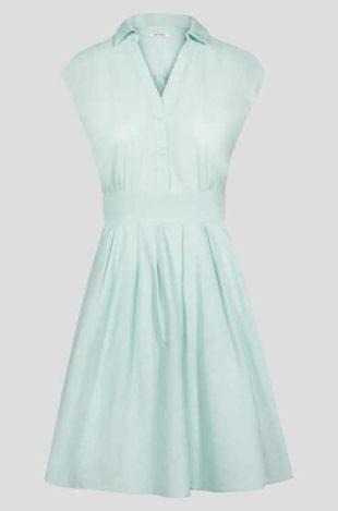 Šaty s áčkovou sukní bez rukávů a košílovým límečkem