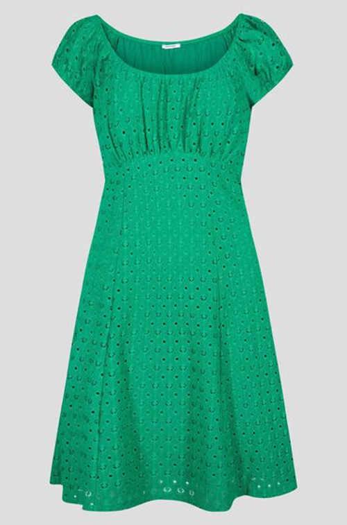 Šaty s áčkovou sukní v bílém a zeleném provedení