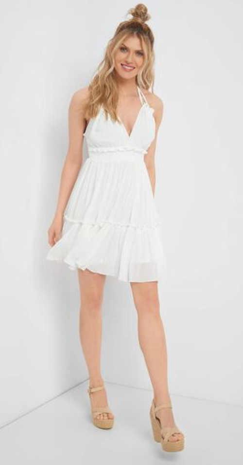 Stylové letní šaty z viskózy se zavazováním za krkem