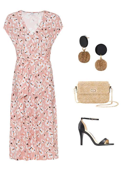 letní šaty s výstřihem do V bez rukávů