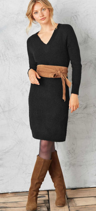 Dámské černé pulovrové šaty s copánkovým vzorem