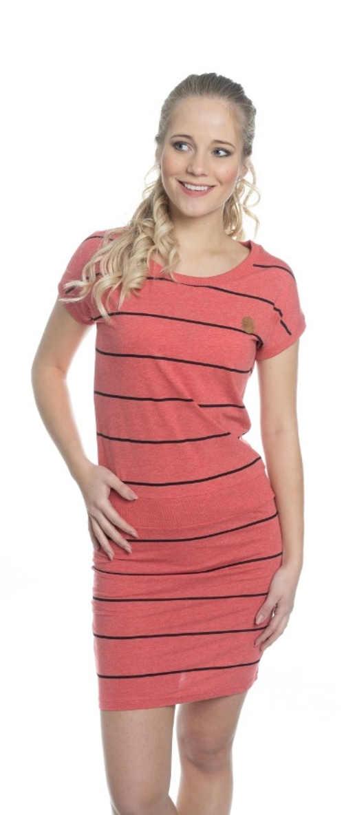 Dámské letní proužkované šaty s krátkým rukávem