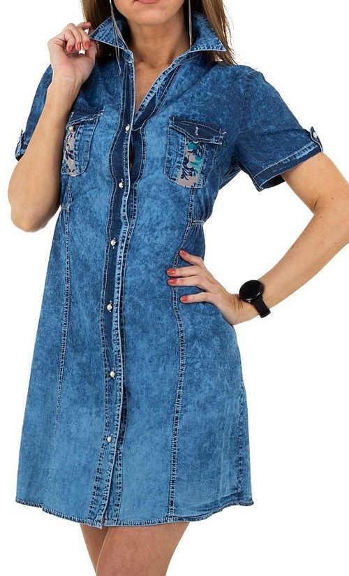 Džínové šaty v modrém provedení na rozepínání vpředu