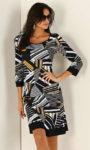 Elegantní šaty s grafickým vzorem ve dvou barevných variantách