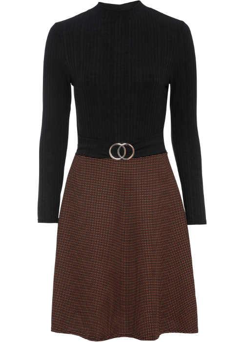 Elegantní šaty s rolákovým vrškem a károvanou sukní
