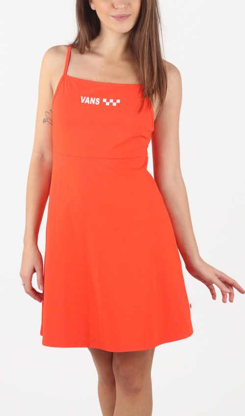Letní šaty na ramínka s áčkovou sukní v délce nad kolena