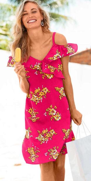 Letní šaty s potiskem a volánem v délce nad kolena