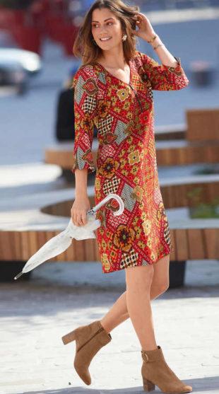 Moderní šaty s potiskem vpředu na zip v délce ke kolenům