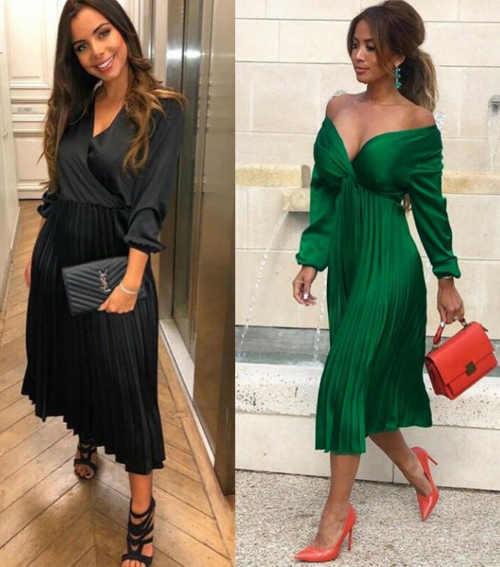 luxusní šaty v černém a zeleném provedení