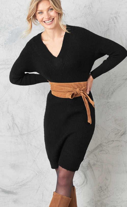 moderní pulovrové černé šaty