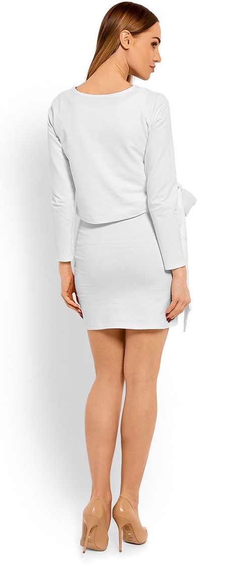 moderní těhotenské šaty v bílém provedení