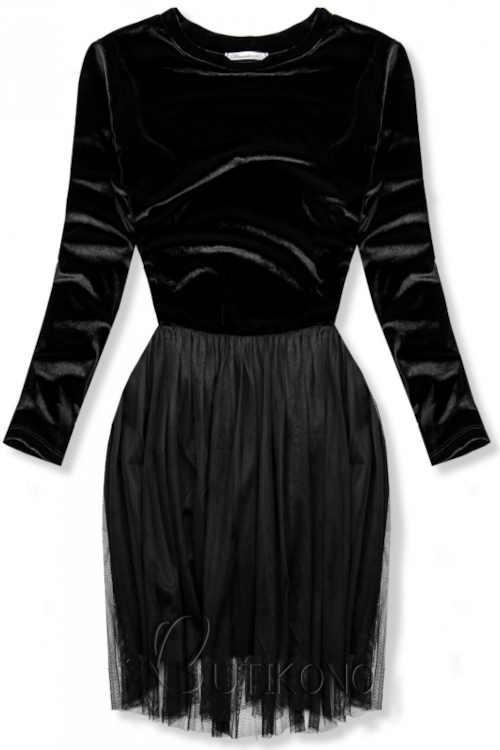 Dámské elegantní šaty s tylovou sukní a dlouhým rukávem