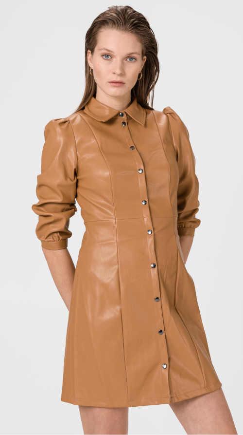 Dámské mini šaty v imitaci kůže vpředu na knoflíkovou légu