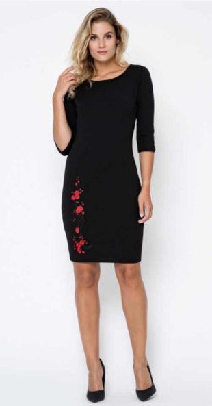 Elegantní dámské šaty v černém provedení s kontrastní výšivkou