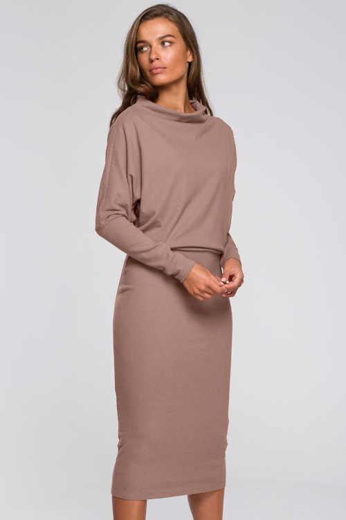 Elegantní dámské šaty v moderní midi délce s dlouhým rukávem