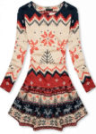Krásné zimní vzorované šaty s motivem snobů v kratší délce