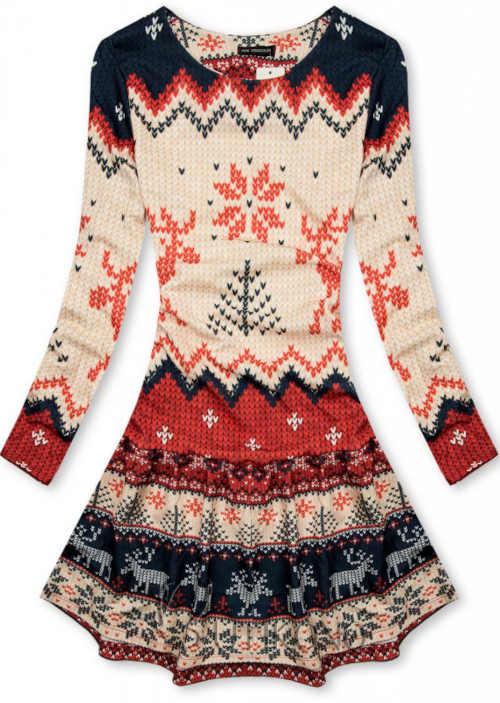 Moderní vzorované zimní šaty s motivem sobů v kratší délce