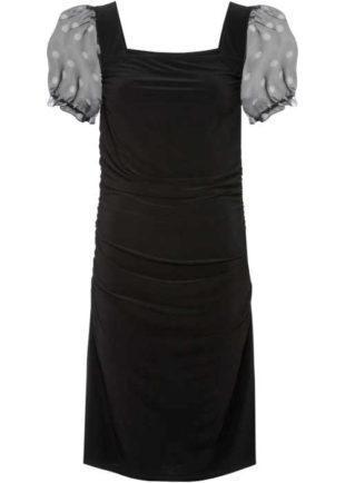 Moderní šaty s nabíranými rukávy a hranatým výstřihem