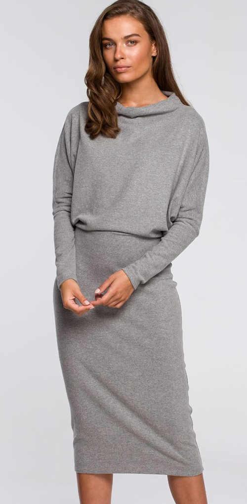 Stylové dámské šaty v midi délce a dlouhým rukávem