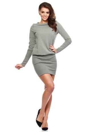 Stylové mini šaty nabírané v pase a dlouhým rukávem