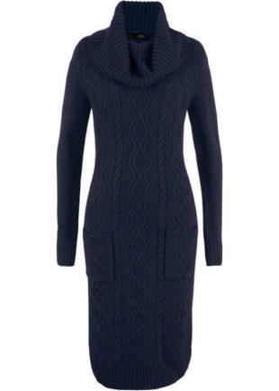 Zimní šaty s kapsami s moderním pleteným vzorem