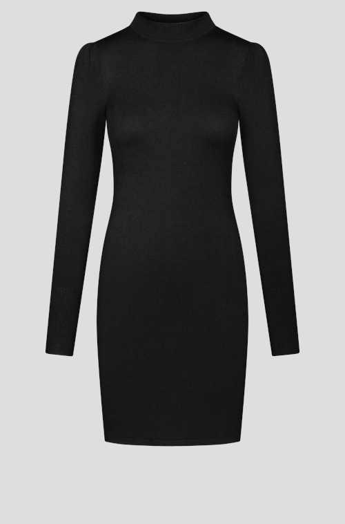 černé šaty z žerzeje s dlouhým rukávem