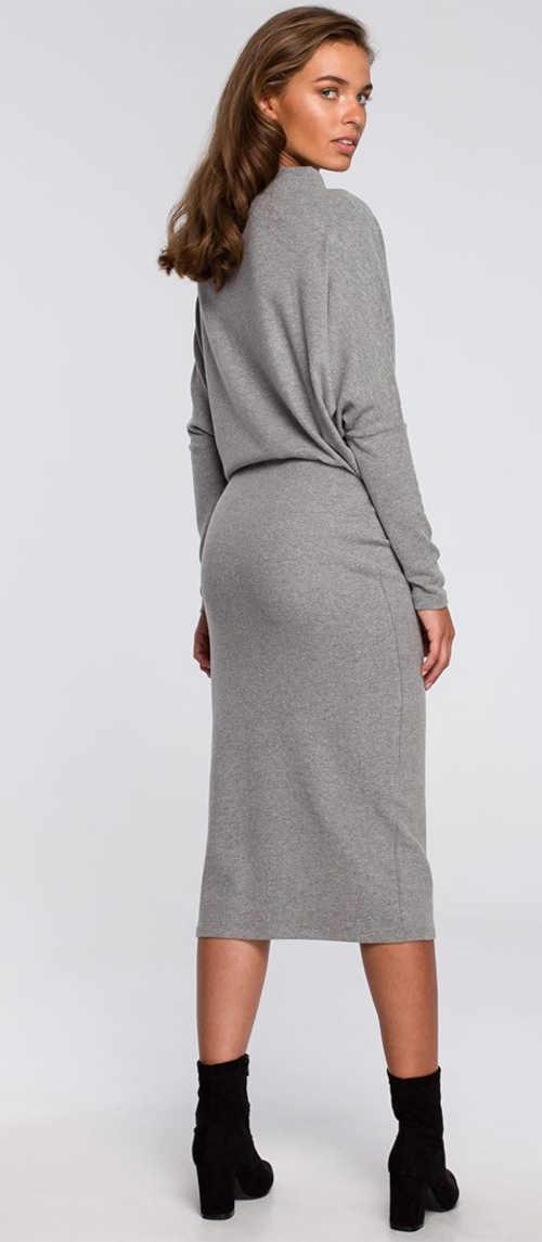 moderní dámské elegantní šaty dlouhý rukáv