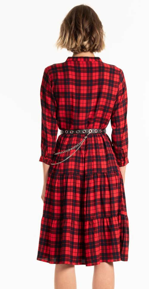 stylové kostkované šaty s knoflíkovou légou