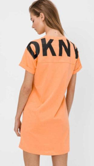 Dámské bavlněné šaty DKNY rovného střihu s výrazným nápisem