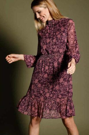 Dámské elegantní šaty s květinovým potiskem a voálem