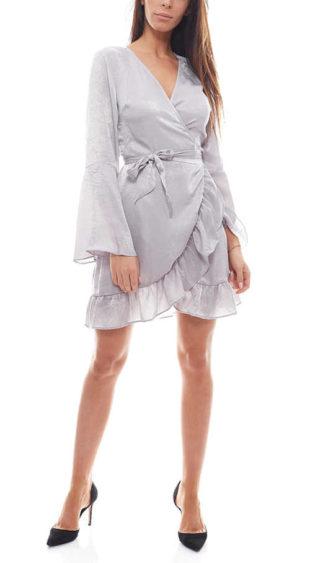 Dámské saténové šaty v zavinovacím stylu s véčkovým výstřihem