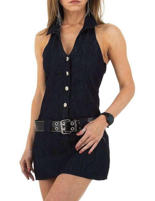 Dámské šaty za krk s límečkem a ozdobným páskem