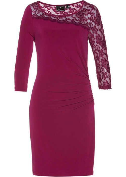 Elegantní dámské šaty ke kolenům s krajkou a řasením
