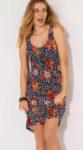 Letní šaty na ramínka s výstřihem s celoplošným potiskem