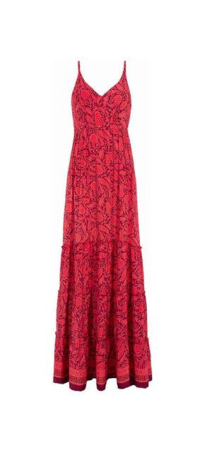 Maxi šaty v červeném provedení s celoplošným potiskem