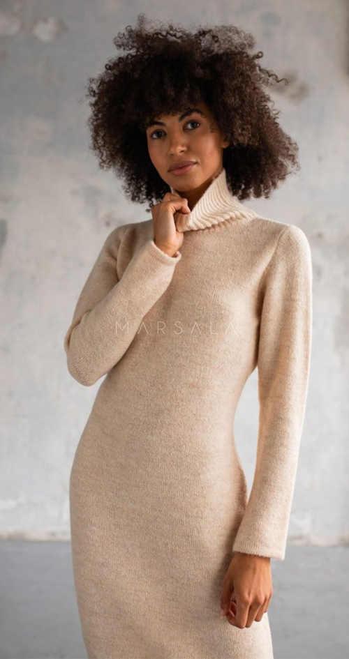 Moderní dámské dlouhé svetrové šaty s rolákem u krku