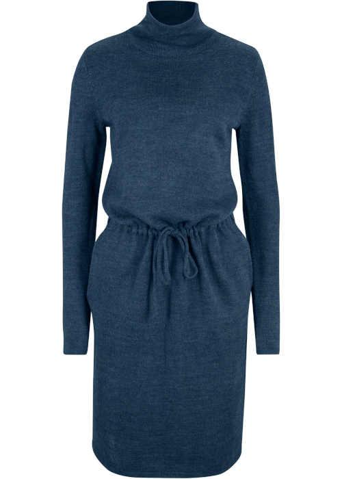 Pletené šaty se stojáčkem v tmavě modrém melíru