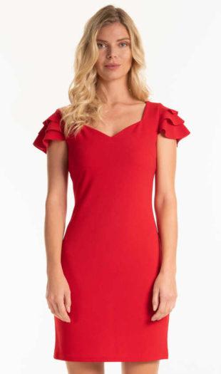 Pouzdrové šaty s volánky na rukávech v červeném provedení
